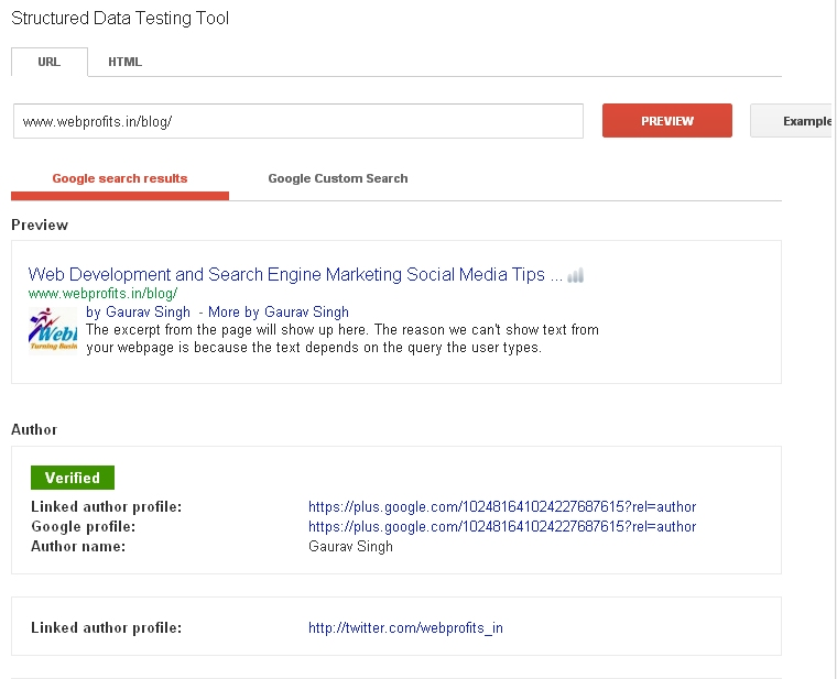 google rich snippets testing tool
